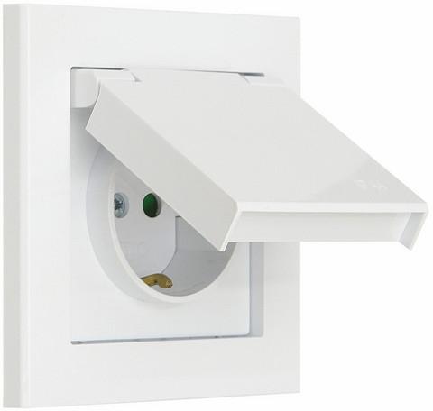 Pistorasia suojalevyllä Optima, 1-osainen, maadoitettu, IP44, valk.