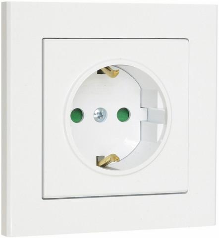 Valkoinen pistorasia Optima, 1-osainen, maadoitettu