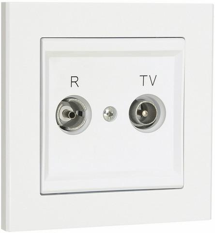 Antennipistorasia, TV / Radio optima, 75 Ohm, valkoinen, Läpimenevä