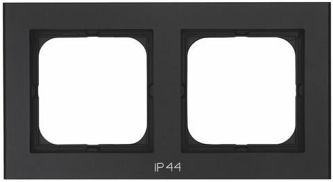 Yhdistelmäpeitelevy Optima, 2-osainen, Tekstillä: IP44, Musta
