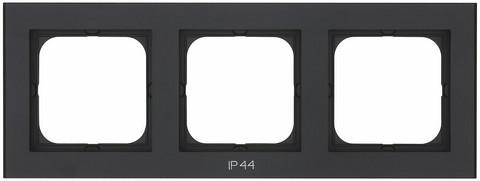 Yhdistelmäpeitelevy Optima, 3-osainen, Tekstillä: IP44, Musta