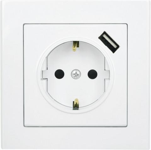 1-osainen Pistorasia USB laturilla, valkoinen