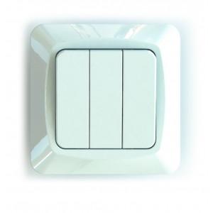 Valokytkin 3-osainen 1+1+1 uppoasennus valkoinen