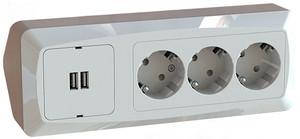 3-osainen Kulmapistorasia USB laturilla
