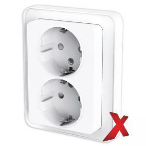 DesignX 2-osainen peitelevyllinen valkoinen pistorasia