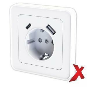 1-osainen valkoinen pistorasia + USB A ja C