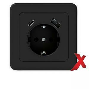 1-osainen musta pistorasia + USB A ja C