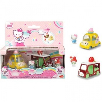 Hello Kitty Cupcake Microvan & Melody Strawberry Truck Dazzle Dash 2-pack