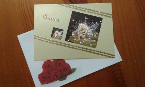 Onni-kortti Onnea - kukkakeijut keltainen
