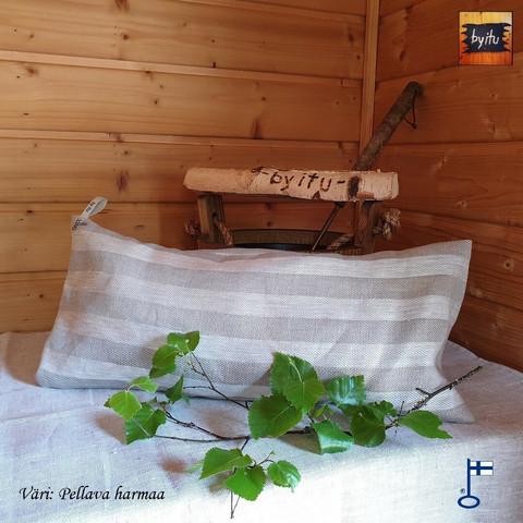 Sanna-saunatyyny Pellava kalanruoto Pellava-harmaa