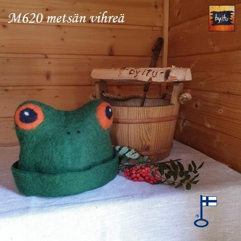Satu-saunahattu Paljusammakko Metsän vihreä oranssi silmä S