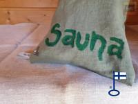 Sanna-Samuel-saunatyynyn päällinen Sauna-teksti n. 22x50 cm