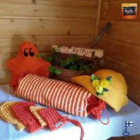 Sakari-saunatyynyn päällinen Oranssi Aurinko - SAUNATYYNYNÄ NYT