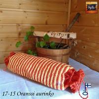 Sanna-Sakari-saunatyyny Oranssi Aurinko Pellava