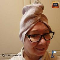 Taru-saunahattu 1000 ja Yhden löylyn Turbaani Ruusupuuteri Pitsi XXS-L