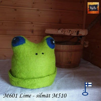 Satu-saunahattu Paljusammakko M Lime sinisilmäisilmä