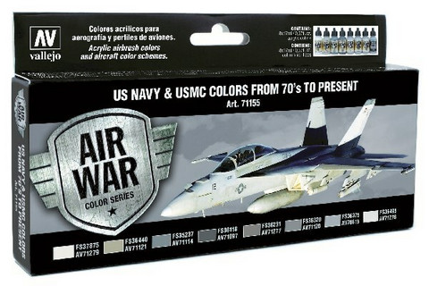 Vallejo Model Air 71.155 US Navy & USMC colors from 70's to present maalisetti 8x17ml