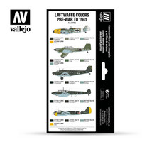 Vallejo Model Air 71.165 Luftwaffe colors pre-war to 1941 maalisetti 8x17ml