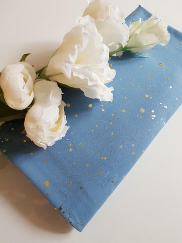 Kultahippu-trikoo, sininen ***1metrin pala***