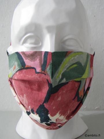 Kasvomaski, muotoiltu, punavihreä