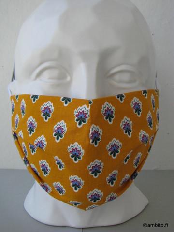 Kasvomaski, muotoiltu, oranssi kukka