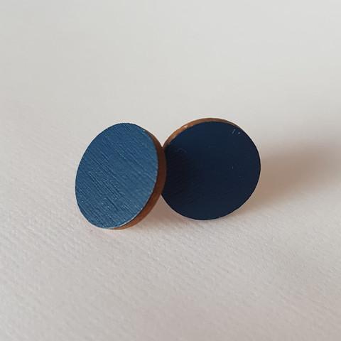 Pyöreä nappikorvakoru, tumman sininen