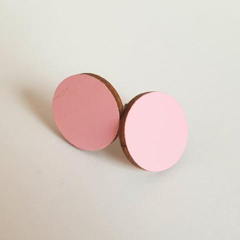 Pyöreä nappikorvakoru, vaaleanpunainen