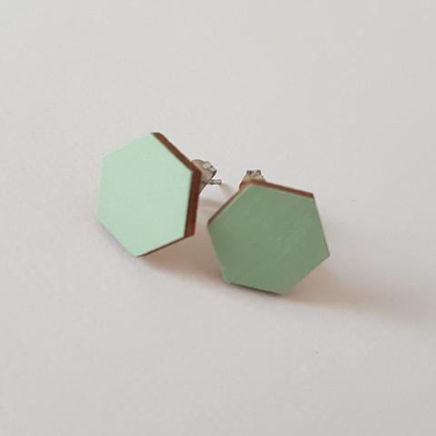 Nappikorvakoru kuusikulmio, vaaleanvihreä