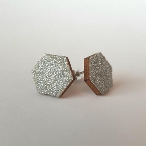 Ekoglitter nappikorvakoru kuusikulmio, hopea