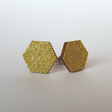 Ekoglitter nappikorvakoru kuusikulmio, kulta