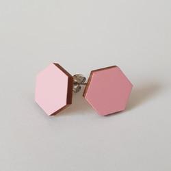 Nappikorvakoru kuusikulmio, vaaleanpunainen
