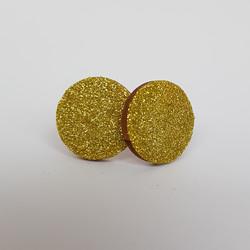 Ekoglitter pyöreä nappikorvakoru, kulta