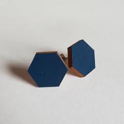 Nappikorvakoru kuusikulmio, tumman sininen