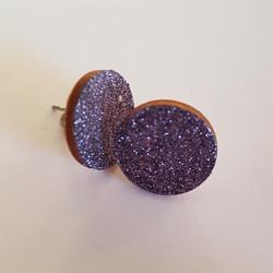 Ekoglitter pyöreä nappikorvakoru, violetti