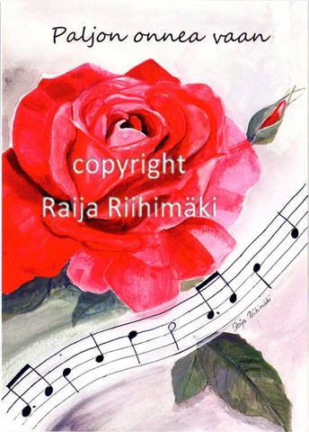 Kukkakortti punainen ruusu