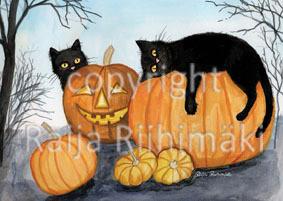 Kissapostikortti , Mustat kissat ja kurpitsat