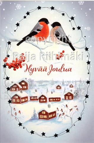 2-osainen joulukortti punatulkut ja talot