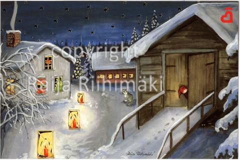 2-osainen joulukortti pihapiiri