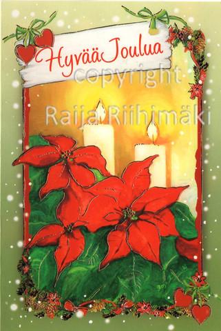 2-osainen joulukortti joulutähdet ja kynttilät
