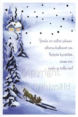 2-osainen joulukortti rekiajelu