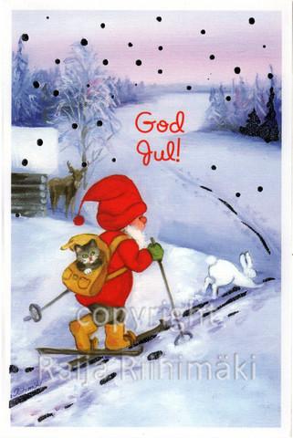 2-osainen joulukortti tonttu hiihtää