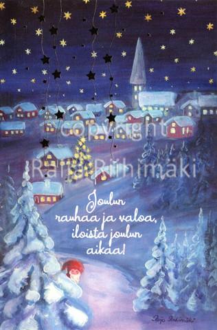 2-osainen joulukortti tonttu kylä
