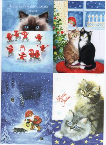 Joulukorttilajitelma, kissa-aiheet 1/ TARJOUS