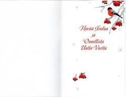 2-osainen joulukortti punatulkut lyhteessä