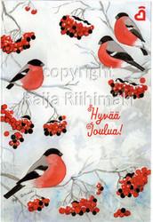 2-osainen joulukortti punatulkut pihlajassa