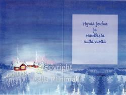 2-osainen joulukortti tonttu ja kettu