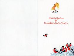 2-osainen joulukortti punatulkut pihapiirissä