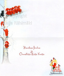 2-osainen joulukortti tontut pihapiirissä