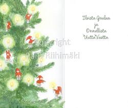 2-osainen joulukortti pikkutontut joulukuusessa