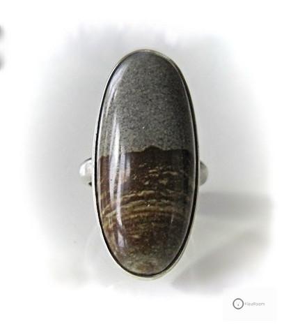 Vanha Hopeasormus Ruskea / Harmaa Jasper